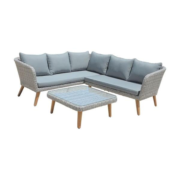 Ogrodowa sofa narożna ze stolikiem w szarym kolorze ADDU Pampalona