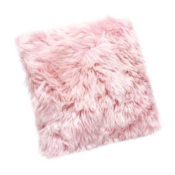 Różowa poduszka z owczej skóry Royal Dream Sheepskin, 45x45cm