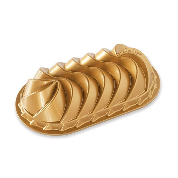 Podłużna forma do ciasta w złotej barwie Nordic Ware Rondo Heritafe