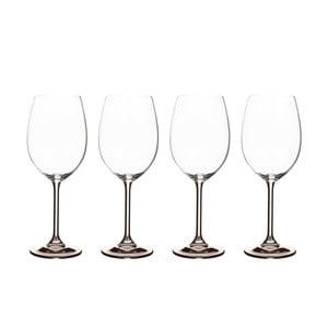 Set 4 pahare pentru vin din cristal Bitz Fluidum, 450 ml, gri