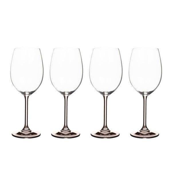 Sada 4 pohárov na víno zo sivého krištáľového skla Bitz Fluidum, 450 ml