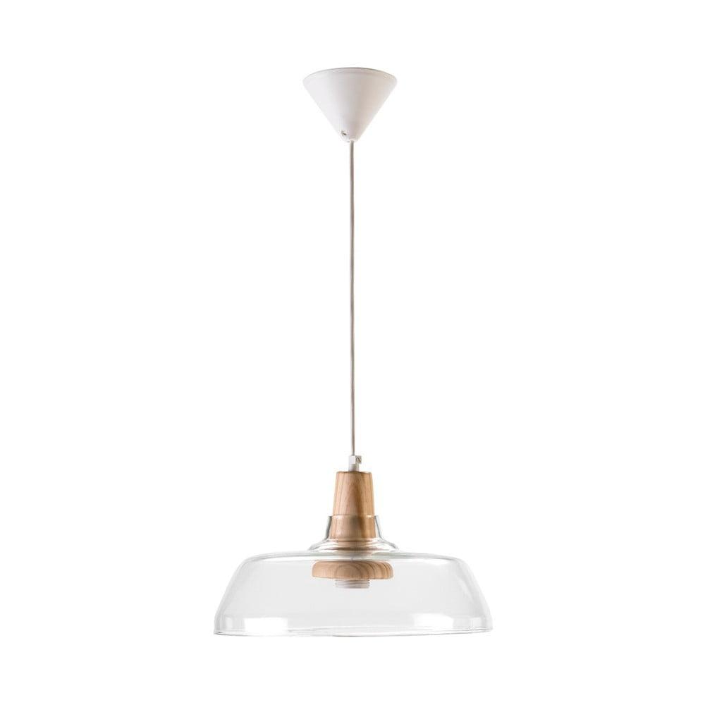 Bílé závěsné svítidlo ze skla a dřeva Surdic Elba, ø32cm