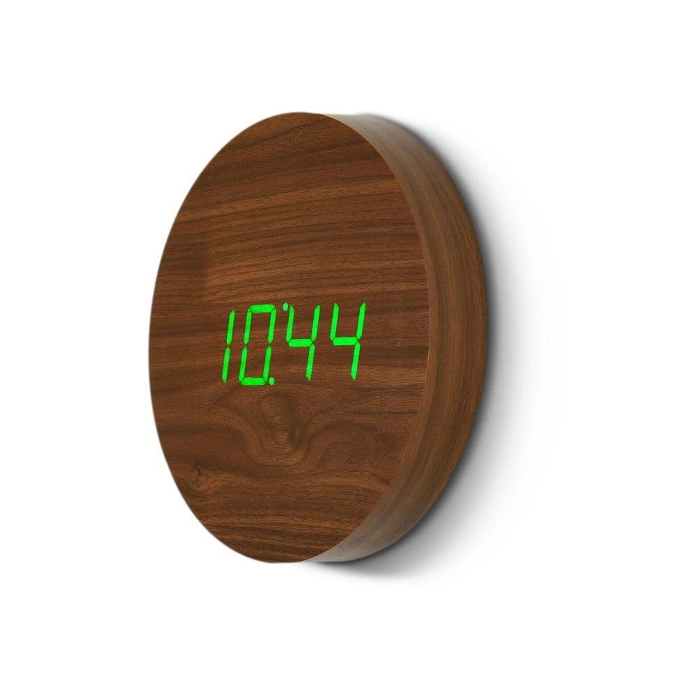 Hnědé nástěnné hodiny se zeleným LED displejem Gingko Wall Gingko