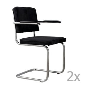 Sada 2 černých  židlí s područkami Zuiver Ridge Rib