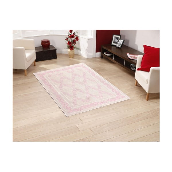 Pudrový bavlněný koberec Floorist Kinah, 100x200cm