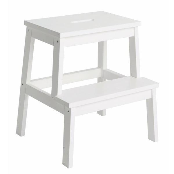 Bílá dubová stolička/schůdky Rowico Nanna