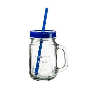 sklenice s modrým víčkem a brčkem SUMMER FUN II, 450ml