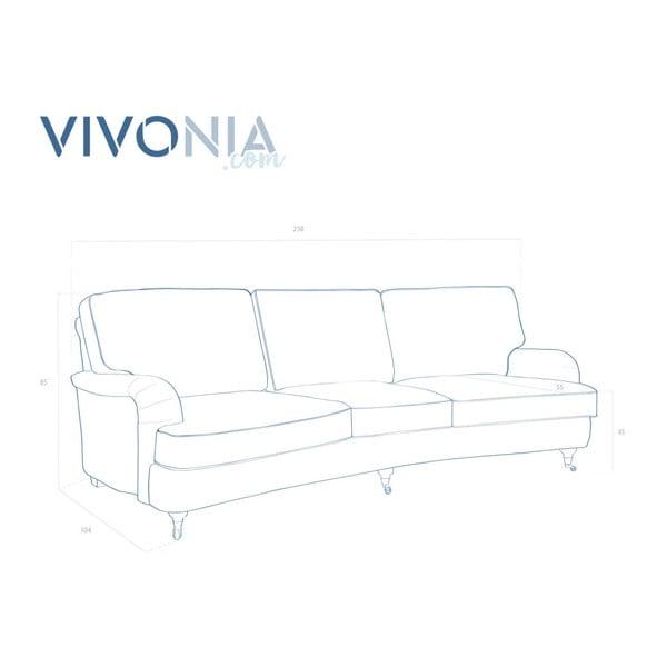 Modrá třímístná pohovka Vivonita William