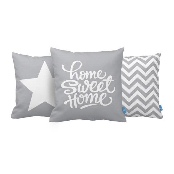 Sada 3 polštářů Home Sweet Home, 43x43 cm, šedá