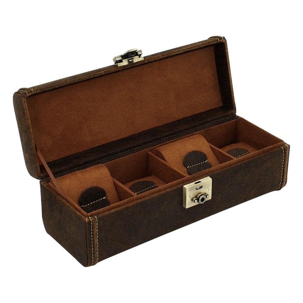 Hnědý box na čtyři hodinky Friedrich Lederwaren Cubano