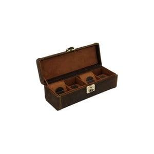 Hnědý kožený box na 4 hodinky Friedrich Lederwaren Cubano