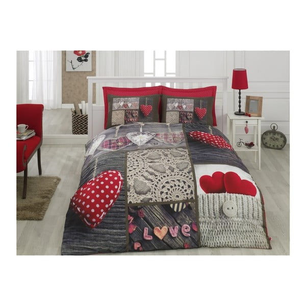 Lenjerie de pat cu cearșaf din bumbac Nina Der, 200x220cm