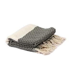 Černo-bílý hammam ručník Spa Time Zig, 95x180cm