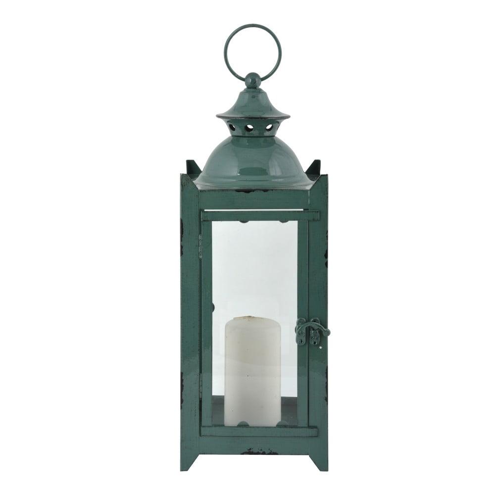 Zelená kovová lucerna Esschert Design Romantik, výška 39 cm