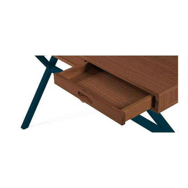 Pracovní stůl v dekoru ořechového dřeva s petrolejově modrými kovovými nohami HARTÔ Hyppolite, 120x55cm