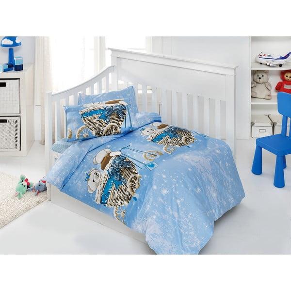 Set dětského povlečení a prostěradla Sweet Bear Blue, 120x150 cm