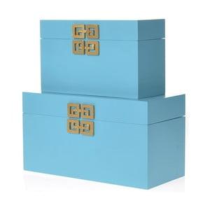 Set 2 dřevěných krabic InArt, tyrkysový