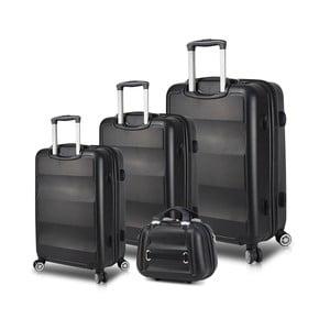Sada 3 černých cestovních kufrů na kolečkách s USB porty a příručního kufříku My Valice LASSO Travel Set
