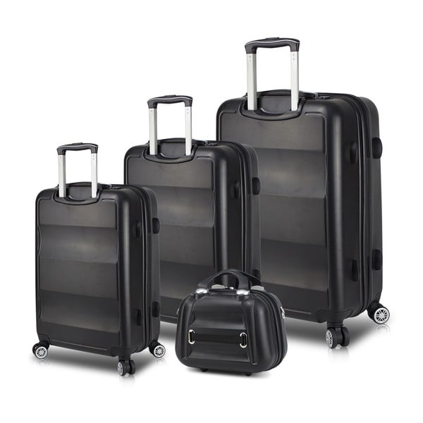 LASSO Travel Set 3 fekete görgős bőrönd és kézipoggyász szett USB csatlakozóval - My Valice