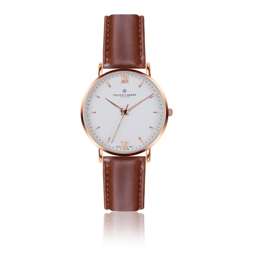 Pánské hodinky s koňakově hnědým páskem z pravé kůže Frederic Graff Rose Dent