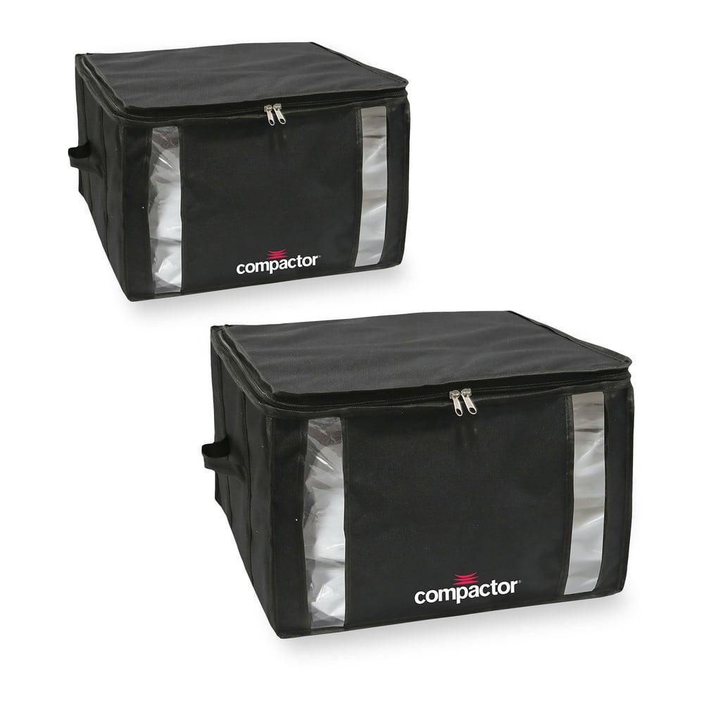 Sada 2 černých úložných boxů s vakuovým obalem Compactor Black Edition Medium, 40 x 25 cm