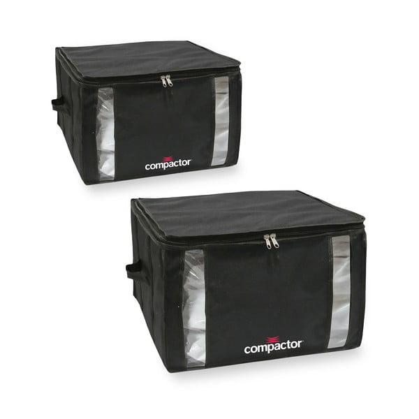 Sada 2 čiernych úložných boxov s vakuovým obalom Compactor Black Edition Medium, 40 x 25 cm