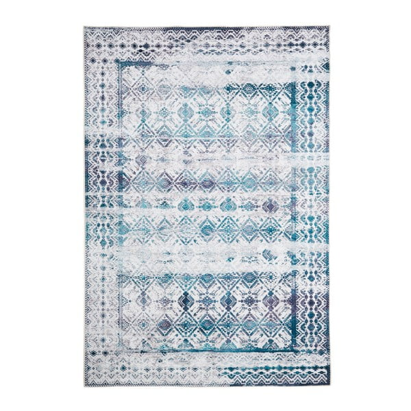 Covor cu rezistență la pete Floorita Kilim Ivory Aqua, 160 x 230 cm