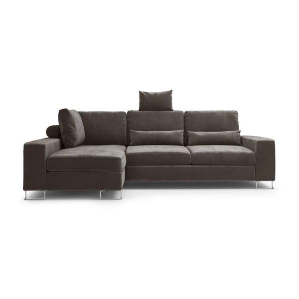 Tmavohnedá rozkladacia rohová pohovka so zamatovým poťahom Windsor & Co Sofas Diane, ľavý roh