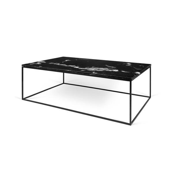 Černý mramorový konferenční stolek s černými nohami TemaHome Gleam, 120cm
