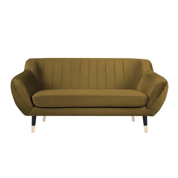 Canapea cu 2 locuri Mazzini Sofas BENITO cu picioare negre, galben muștar