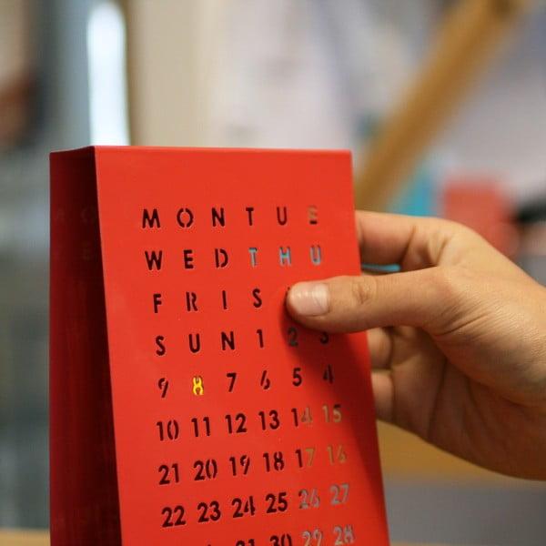 Magnetický kalendář na stůl Perpetual Calendar, červený