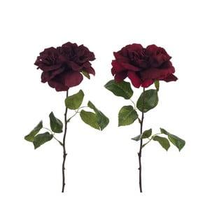Set 2 trandafiri cu frunze, artificiali