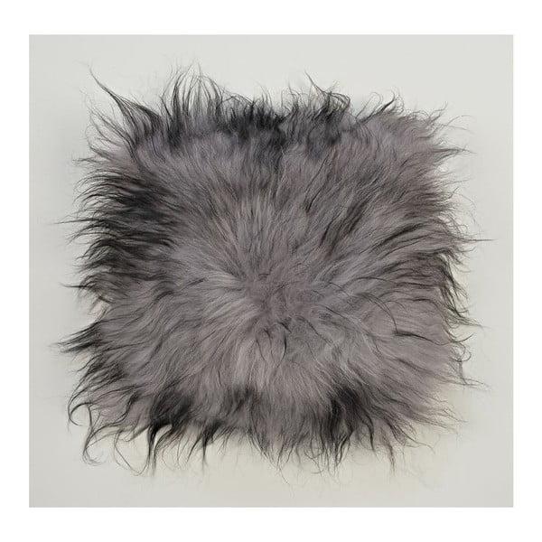Šedý kožešinový polštář s dlouhým chlupem Dark ends, 35x35cm