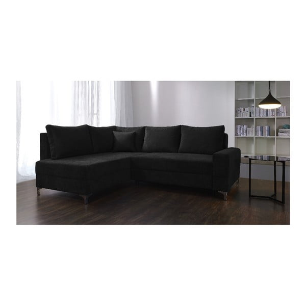 Černá rozkládací rohová pohovka Windsor & Co Sofas Zeta, levý roh
