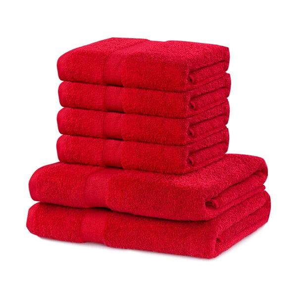 Set 6 prosoape din bumbac DecoKing Marina, roșu