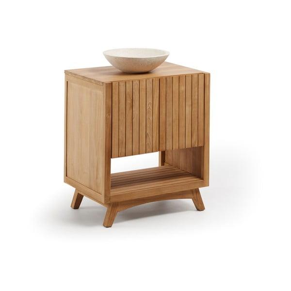Teakfa fürdőszobai szekrény mosdókagylóval, szélesség 70 cm - La Forma