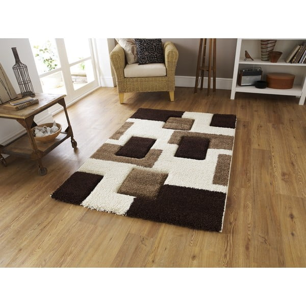 Hnědý koberec Think Rugs Fashion Ivory Brown I, 120 x 170 cm