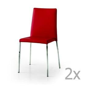 Sada 2 červených jídelních židlí Castagnetti Laer