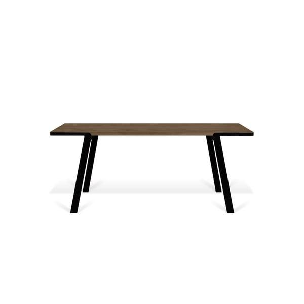 Jídelní stůl s deskou z ořechu a černýma nohama TemaHome Drift