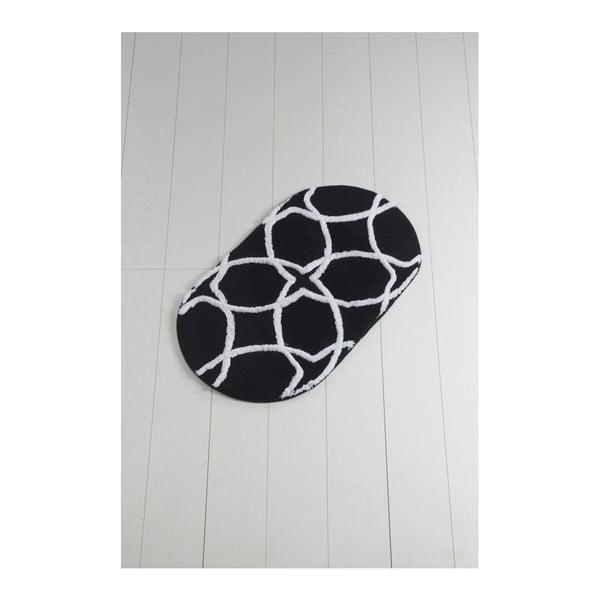 Černo-bílá koupelnová předložka Waves Hexagon, 100 x 60 cm