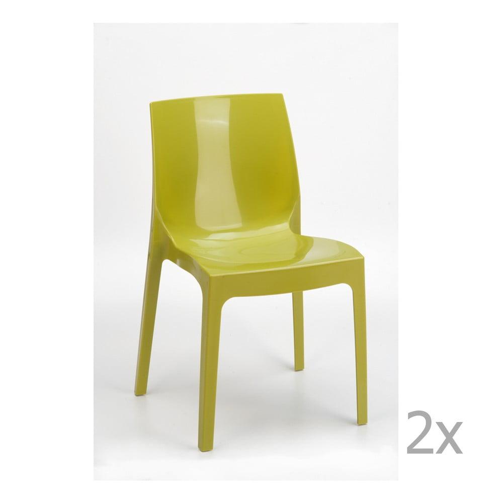 Sada 2 zelených jídelních židlí Castagnetti Ice