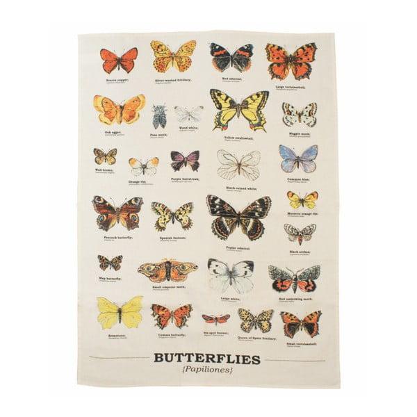 Prosop din bumbac de bucătărie Gift Republic Butterflies, 50 x 70 cm