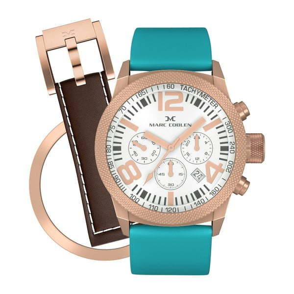 Dámské hodinky Marc Coblen s páskem a kroužkem navíc P113