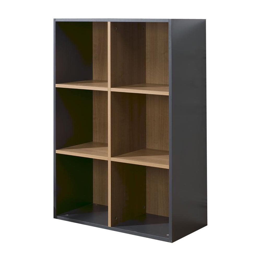 Fotografie Černo-hnědá knihovna se 6 policemi JUNIOR Provence Cube