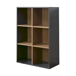 Černo-hnědá knihovna se 6 policemi JUNIOR Provence Cube