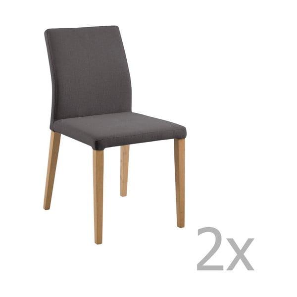 Set 2 scaune Actona Zina Dining Set, gri închis