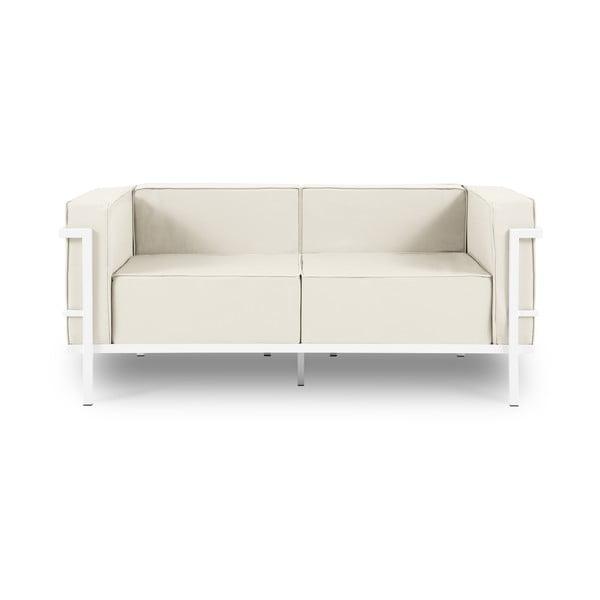 Canapea cu două locuri, adecvată pentru exterior Calme Jardin Cannes, alb - bej
