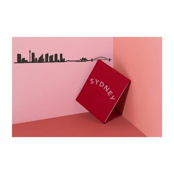 Černá nástěnná dekorace se siluetou města The Line Sydney XL