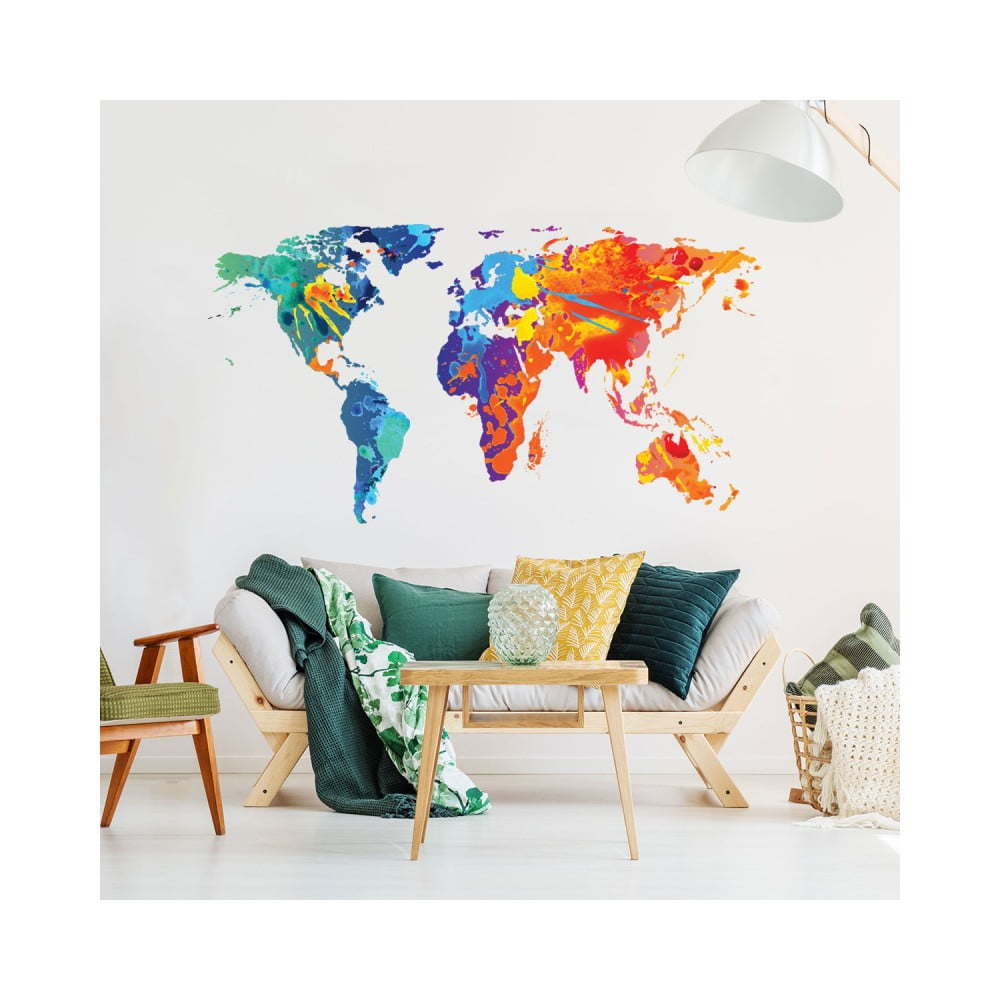 Nástěnná samolepka Ambiance Wall Decal Worlds Map Design Watercolor 60 x 105 cm