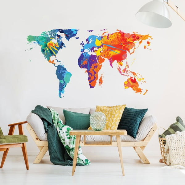 Autocolant de perete Ambiance Worlds Map Design Watercolor, 60 x 105 cm